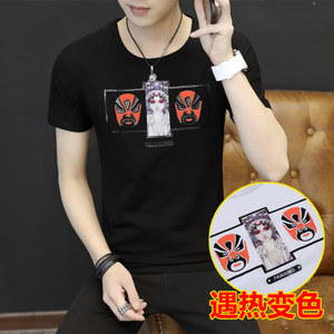 2017夏季圆领短袖T恤新款热感变色脸谱中国风男棉体恤半袖衣服619