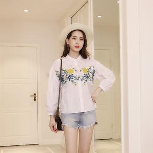 实拍!棉衬衣女韩版春夏新款女装宽松大码刺绣灯笼袖衬衫学生上衣