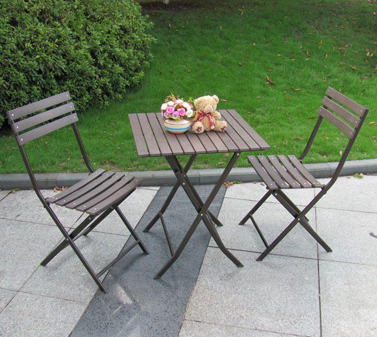 [Giải phóng mặt bằng] giải trí ngoài trời bàn gấp và ghế vườn giả gỗ giải trí bảng và ghế ban công đồ nội thất nhựa gỗ xách tay bàn ghế