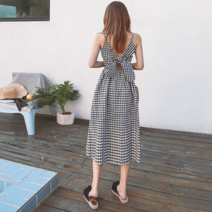 现货  韩国chic 优雅格纹后腰系带无袖吊带连衣裙6680