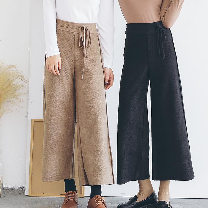 1123# 2017 秋冬新款呢料阔腿裤女高腰长裤系带直筒喇叭裤