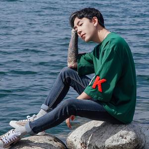 2017夏季新款港仔风男士短袖T恤 五分袖韩版宽松型大码潮男装刺绣
