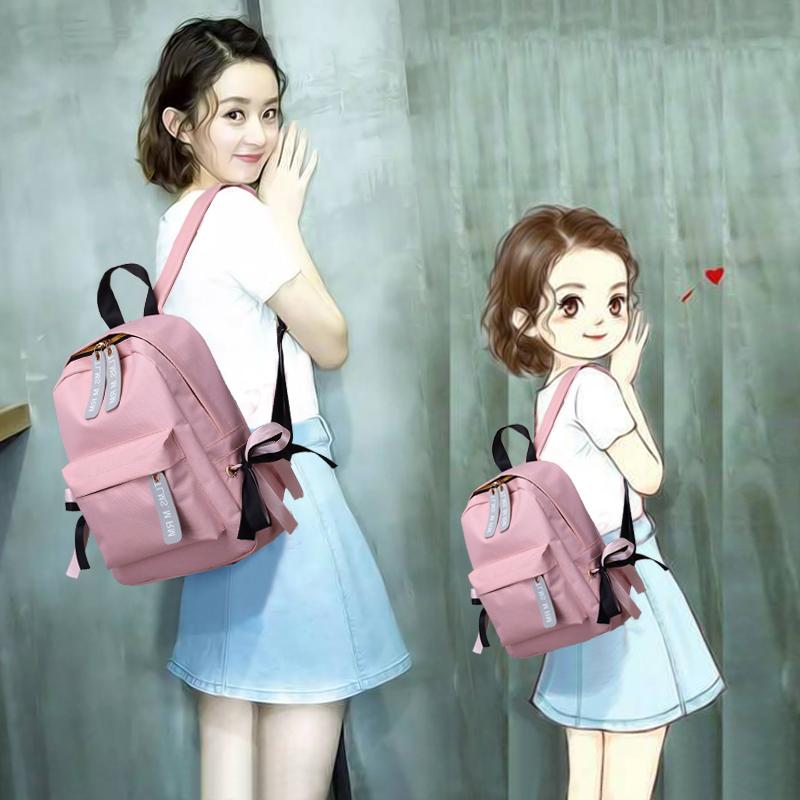 双肩包女韩版时尚百搭个性休闲包包2017新款潮帆布书包2018背包
