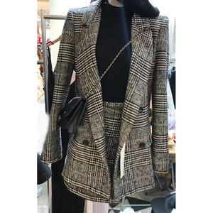 Chống mùa giải phóng mặt bằng 2018 mùa thu thời trang mới tính khí mỏng houndstooth phù hợp với áo khoác có váy phù hợp với phụ nữ