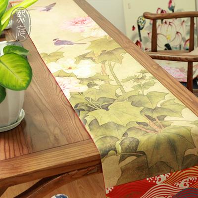 新中式花鸟桌旗居家布艺红木餐桌中国风茶几旗