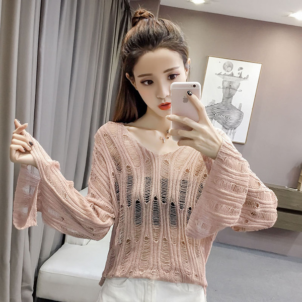New Hollow Trumpet Sleeve S Loose Sun Protection Clothing Female Top