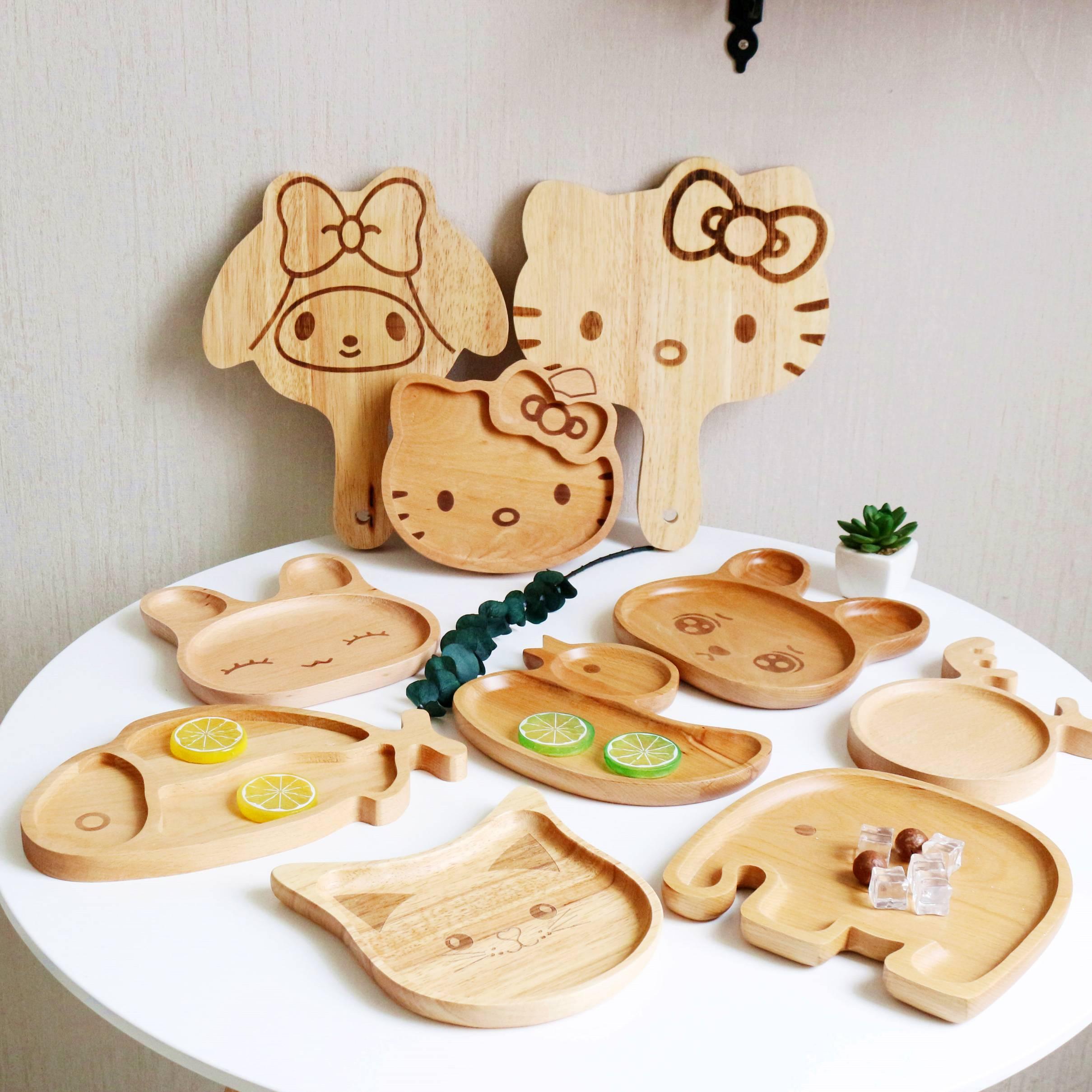 Nhật bản-phong cách bộ đồ ăn bằng gỗ phim hoạt hình sáng tạo trẻ em của tấm dễ thương khay gỗ lưới món ăn bằng gỗ snack tấm