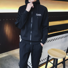 冬季男士加绒全棉套装休闲保暖运动服卫衣男加厚运动衣