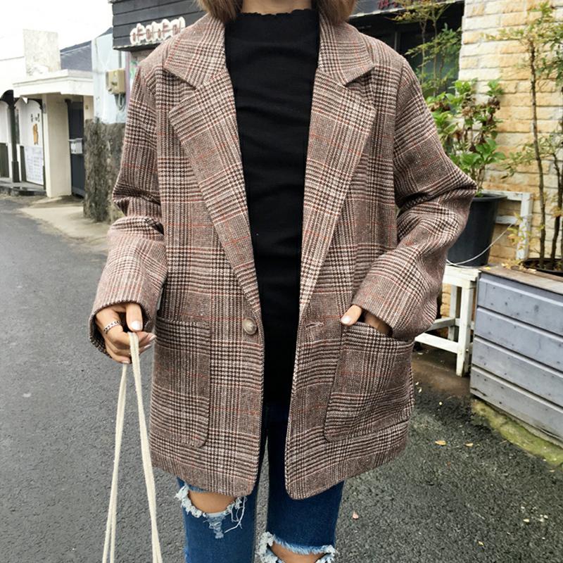 Mùa thu và mùa đông Hàn Quốc phiên bản của ulzzang retro Hồng Kông hương vị Hồng Kông phong cách chic loose kẻ sọc phù hợp với len áo khoác nữ sinh viên