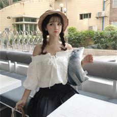 实拍2018夏装韩款软妹蝴蝶结衬衣学生一字领泡泡雪纺衫衬衫