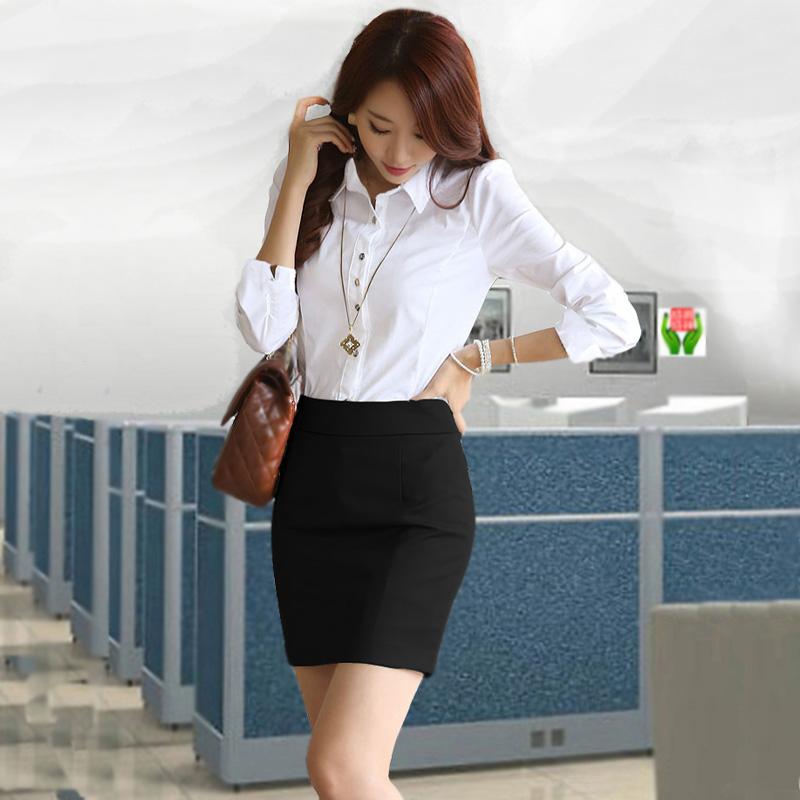 OL通勤职业装 长袖衬衫配包臀短裙-通勤网