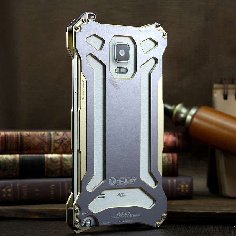 R-Just Gundam Aerospace Aluminum Contrast Color Shockproof Metal Shell Outdoor Protection Case for Samsung Galaxy Note 4