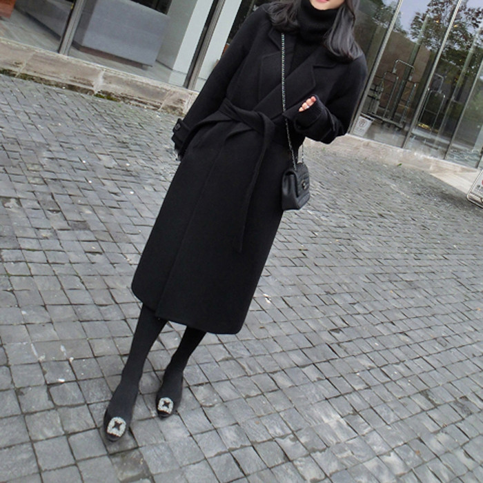 Chống mùa giải phóng mặt bằng mùa thu và mùa đông đôi phải đối mặt với cashmere áo khoác của phụ nữ áo khoác trên đầu gối lỏng phần dài len Hàn Quốc phiên bản của hai mặt