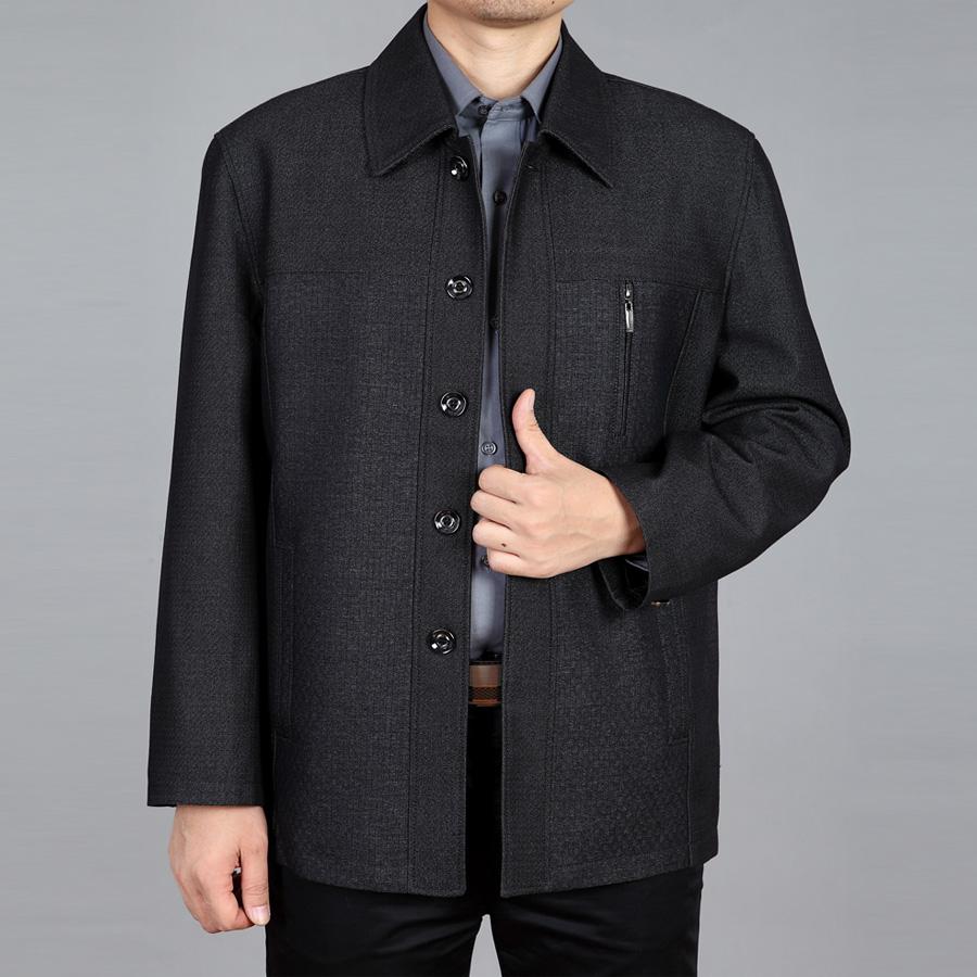 Người đàn ông trung niên áo khoác nút ông nội mùa xuân nạp người già lỏng lẻo cộng với phân bón xl cha áo giản dị