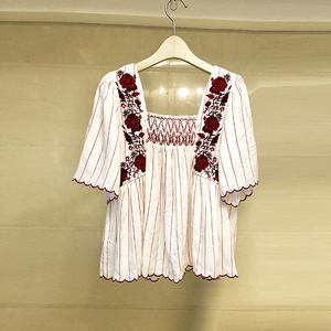 9233 實拍歐洲站2018夏季新款小香風小清豎條新刺繡白色襯衫女