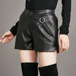 实拍8628#欧美女装短裤休闲裤PU皮短裤显瘦松紧腰时尚潮款皮靴裤