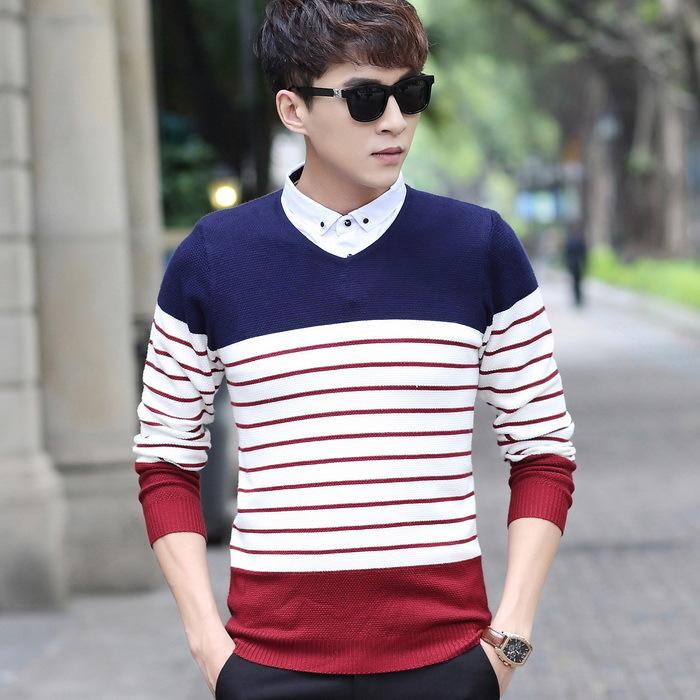 Xu hướng nam mùa thu và áo len sọc nam áo len cổ áo thanh niên bảo hiểm rủi ro Hàn Quốc áo len mỏng hai mảnh - Áo len