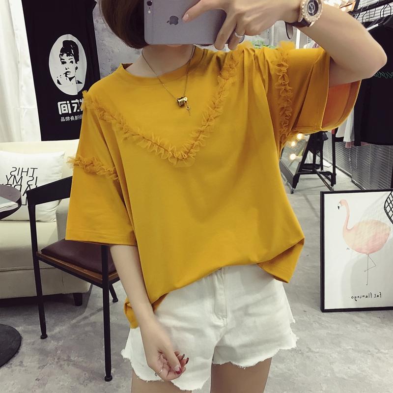 Mùa hè Hàn Quốc phiên bản của siêu lớn kích thước 200 pound chất béo mm ngắn tay t-shirt nữ sinh viên khâu quần áo loose slimming áo sơ mi