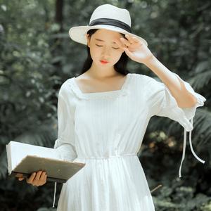 【7879#不低于89】复古宫廷修身方领连衣长裙