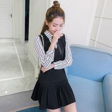 实拍1702#学院风文艺清新韩版条纹V领蝴蝶结假两件衬衫连衣裙套装