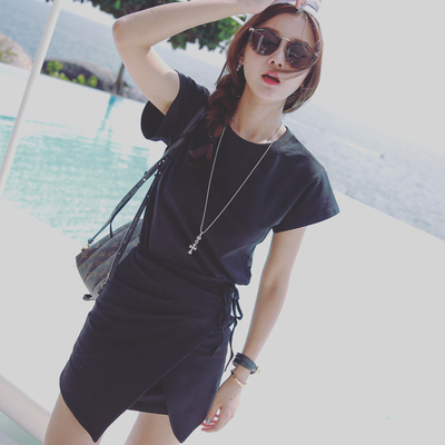 JUS tự chế nấm mốc với cùng một đoạn thiết kế Pháp đàn hồi đan buộc với T-shirt váy đen váy