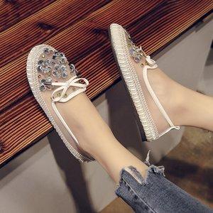 2018 new lưới màu rhinestone thấp để giúp peas giày giày phẳng giày lười giày duy nhất giày thường thở giày của phụ nữ