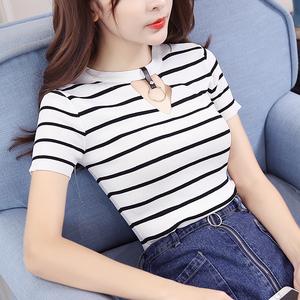 小视频 实拍2405#2017夏季韩版百搭T恤条纹短袖学生打底薄针织衫