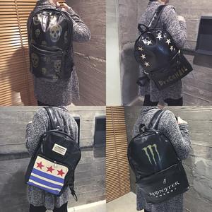 潮人韩版休闲时尚个性黑色PU皮中学大学生开学书包双肩包原宿背包