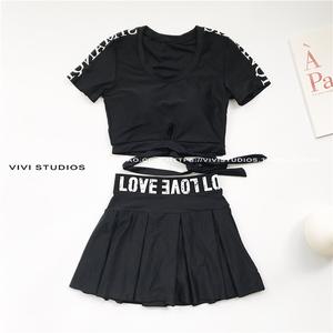VV 18ss đen retro ngắn tay mỏng mỏng váy- phong cách chia áo tắm mùa xuân nóng kỳ nghỉ đồ bơi phụ nữ