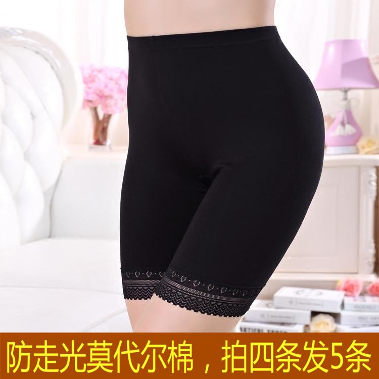 200 pound chất béo MM XL bốn điểm quần an toàn nữ mùa hè ren side phương thức cao eo mỏng chống ánh sáng xà cạp