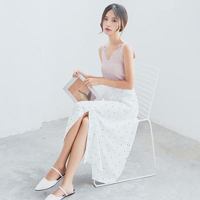 实拍1310#春夏新款韩版波点单排扣一片式半身裙长裙