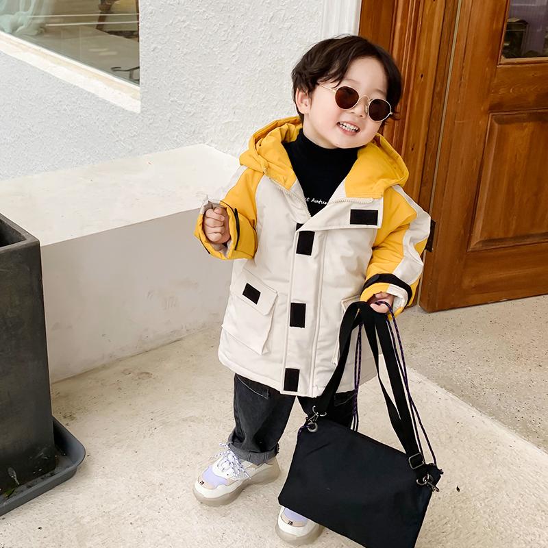 宝宝加厚儿童工装羽绒棉服短款外套男童工装棉衣女童新款冬装棉袄