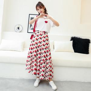 2018新款夏小清新俏皮爱心刺绣T恤+高腰半身裙套装女chic两件套潮
