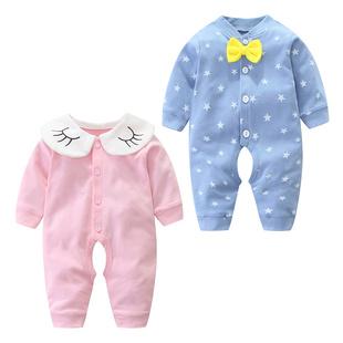 婴儿春季长袖开档连体哈衣宝宝爬服