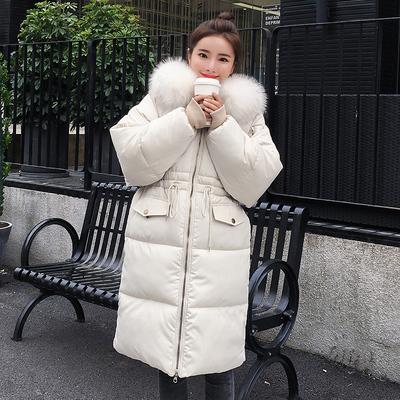 Giải phóng mặt bằng chống mùa, áo khoác xuống, áo khoác độn, bánh mì nữ mùa đông, áo bông, phiên bản Hàn Quốc, đầu gối dài, cổ áo lông thú lớn, áo bông Bông