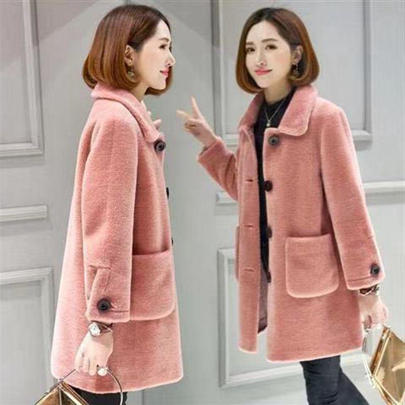 羊羔毛毛呢中长款外套女士秋冬款宽松简约通勤韩版羊皮毛一体大衣