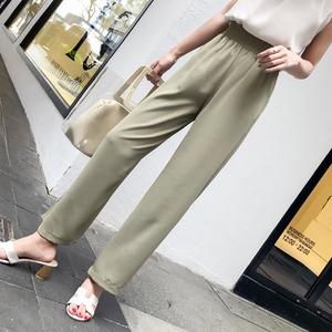 实拍8233#夏季宽松高腰显瘦chic阔腿裤黑色雪纺女裤学生休闲长裤