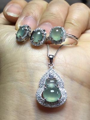 s925银镶嵌 缅甸天然翡翠三件套戒指耳钉吊坠 冰种a货玉石珠宝