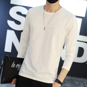 Mùa thu nam dài tay T-Shirt màu rắn trắng vòng cổ đáy áo mỏng phần màu trắng tinh khiết kích thước lớn lỏng lòng từ bi 9.9 nhân dân tệ