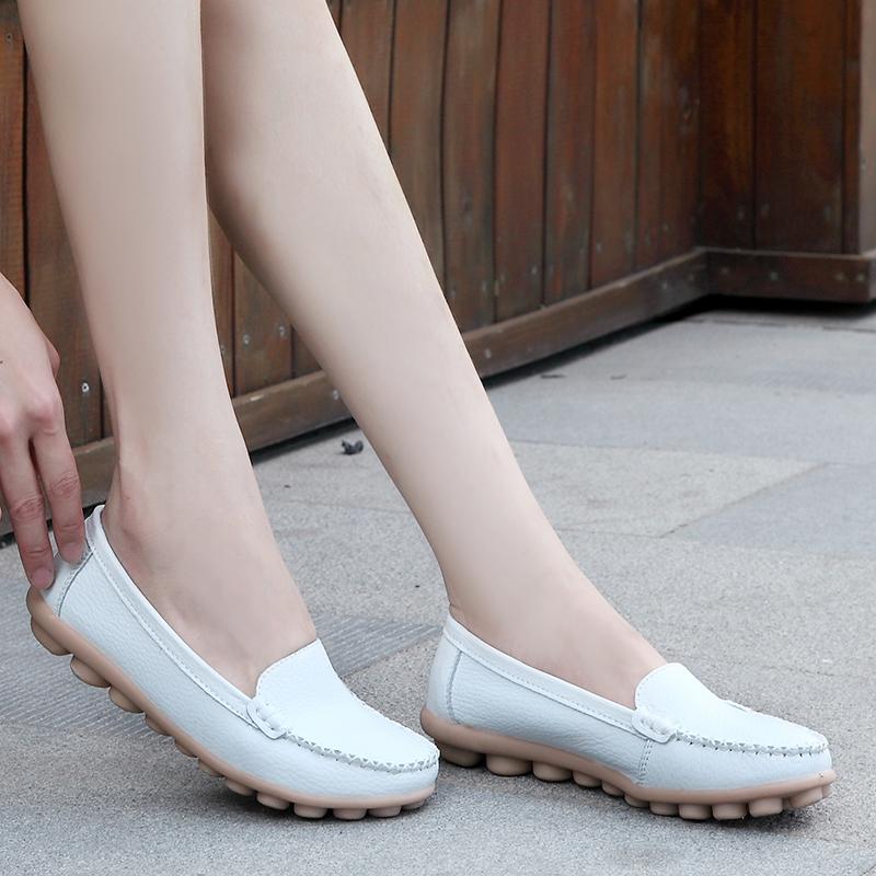 63软底大码单鞋护士鞋白色平底鞋孕妇鞋春豆豆鞋女鞋子妈妈鞋真皮