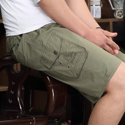 Mùa hè bãi biển quần trung niên quần short giản dị lỏng lẻo năm- điểm quần trung niên người đàn ông bông đàn hồi eo quần
