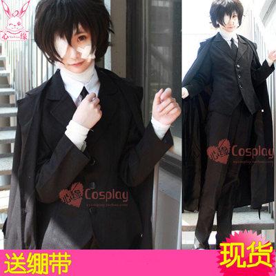 taobao agent Spot bungou stray dog cos Dazai Osamu black era black windbreaker suit cosplay costume wig fake hair