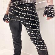 Cá tính Slim xe máy phần mỏng thiết nam giới và phụ nữ ca sĩ trang phục không chính thống punk PU đầu máy chân nhỏ quần da