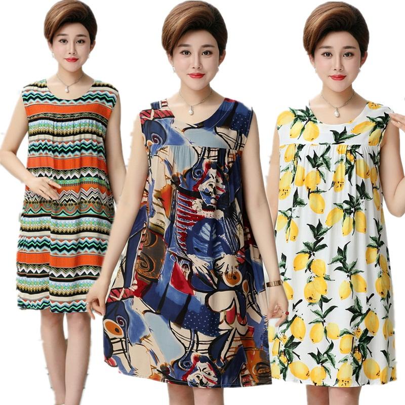 Mùa hè lớn kích thước của phụ nữ nightdress phụ nữ trung niên bông lụa hoa váy mẹ váy không tay cộng với chất béo hoa váy