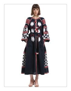 5505# 民族風條紋流蘇裝飾亞麻連衣裙 MAY