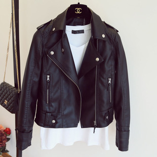 Leather women's short section 2019 new spring and autumn high waist motorcycle clothing Korean version was thin Slim pu leather jacket small jacket tide