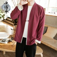 春夏季男士中国风夹克青年短款盘扣外套复古开衫唐装修身潮流茶服