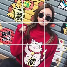 3289#韩版百搭短款显瘦可爱少女心招财猫套头高领红色毛衣