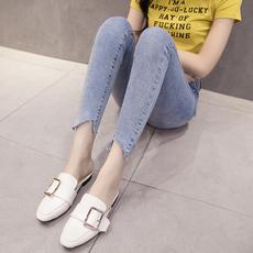 实拍2018春新款韩版学生破洞百搭紧身高弹不规则脚口牛仔九分裤女