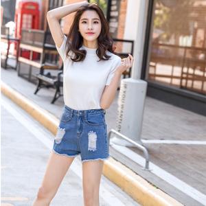 夏季学生白色弹力破洞牛仔短裤女毛边韩版宽松显瘦阔腿热裤包邮
